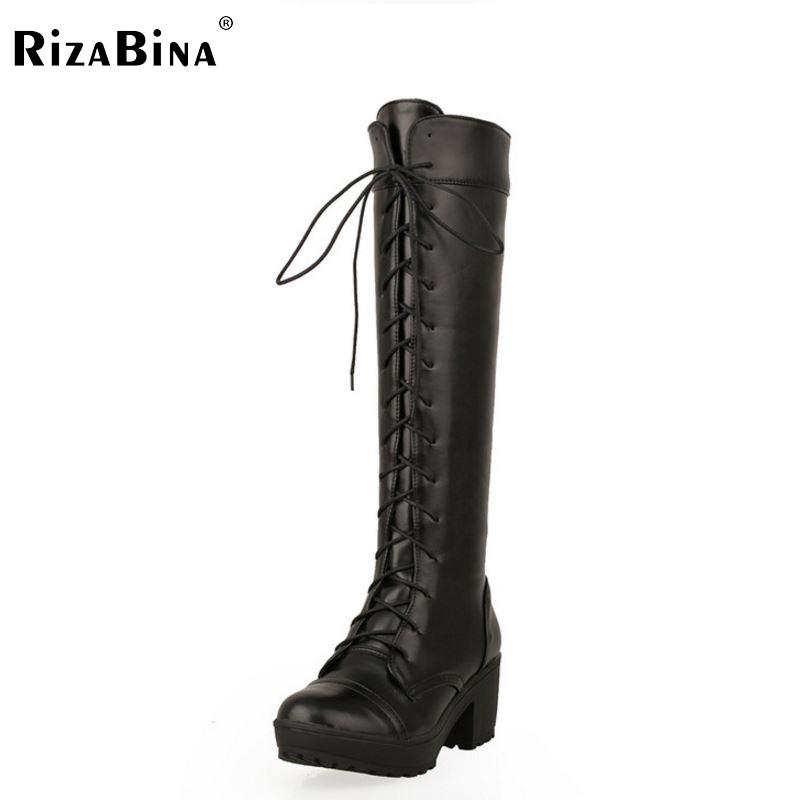 size 34-43 high heel knee boots women riding long boot fashion snow warm winter botas brand heels footwear shoes P20236  -  RIZABINA CENTER Store store