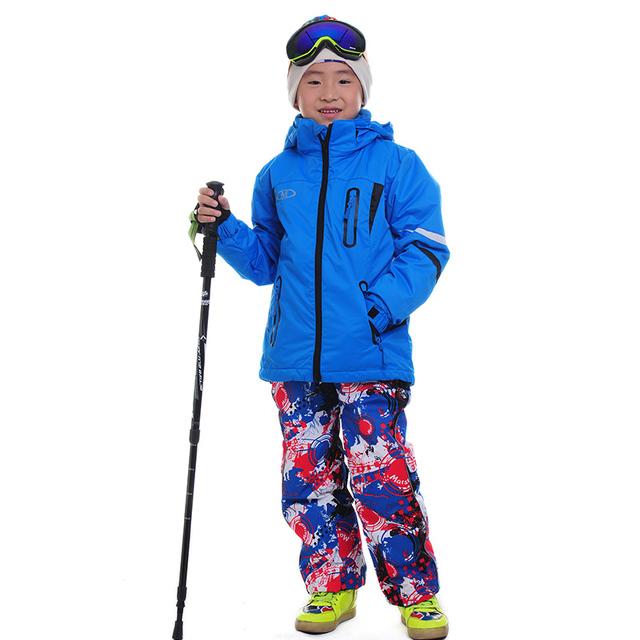 2016 Детей Лыжные Брюки Открытый Лыжи Сноуборд Костюм Куртки Twinset Мальчиков девушки Лыжные Штаны Теплые 3 в 1 Куртка Жилет Брюки Лыжные набор