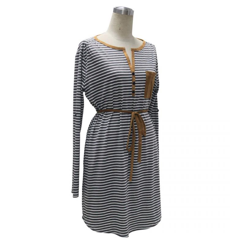 Fashion Simple Women Lady V neck Stripe Long Sleeve Casual Dress Knit blend with Belt Stylish Fashionable party Gift For Women