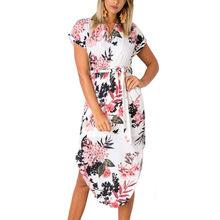 Летнее платье 2019 женское богемное стильное пляжное платье с геометрическим принтом элегантные вечерние платья с поясом Vestidos de fiesta плюс раз...(China)