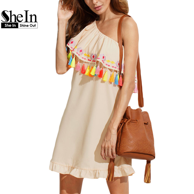 SheIn Ladies Multicolor Embroidered Tassel One Shoulder Dresses Fashion Womens Summer New Style Vintage Straight Dress(China (Mainland))