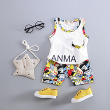 Korean 2016 Summer Casual Baby Boys Girl Kids Clothes Set Cotton Sleeveless Vest T-shirt + Shorts Children Clothing Outfits - Mina Fashion kids Store store