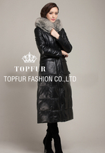New Genuine Leather Super X Long Coat With Real Fox Fur Collar Plus Big Size  Free Shipping Women Winter Long Coat FP285(China (Mainland))