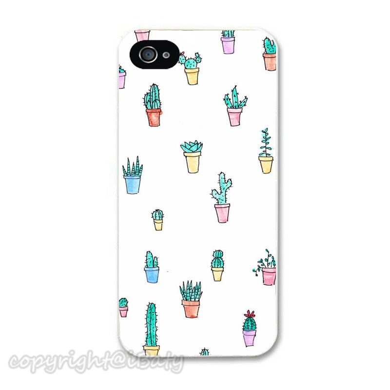 2015 New arrival Simple Design Potted Cactus phone case for Apple iPhone 4S/5S/SE/5C/6S/Plus cell phone cover(China (Mainland))