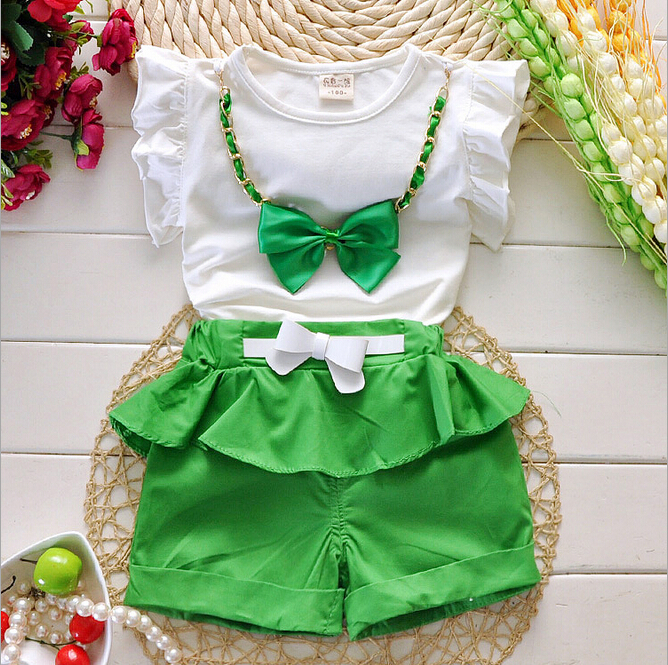 Hot Sale Girl Clothing Set Top + Pants For Baby BB Girl Summer Wear Children Clothing 2 Pcs With Belt Baby Clothes gift(China (Mainland))