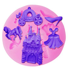 Buy M558 Fairy Dress Castle Coach Dress Glass Slipper Horse Shape Silicone Molds princess molds Cake Decoration Tools Mold 8.6*0.8cm for $1.38 in AliExpress store