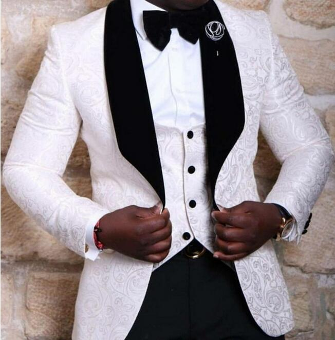 New Style Groomsmen Shawl Lapel Groom Tuxedos RedWhiteBlack Men Suits Wedding Best Man Blazer (Jacket+Pants+Tie+Vest)1
