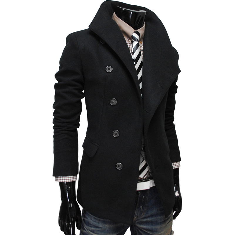 Double Breasted Solid Men Outwear Coat Turn-down Collar Long Sleeve Men Wind Coat 2015 New Brand Autumn Winter Male ClothingОдежда и ак�е��уары<br><br><br>Aliexpress