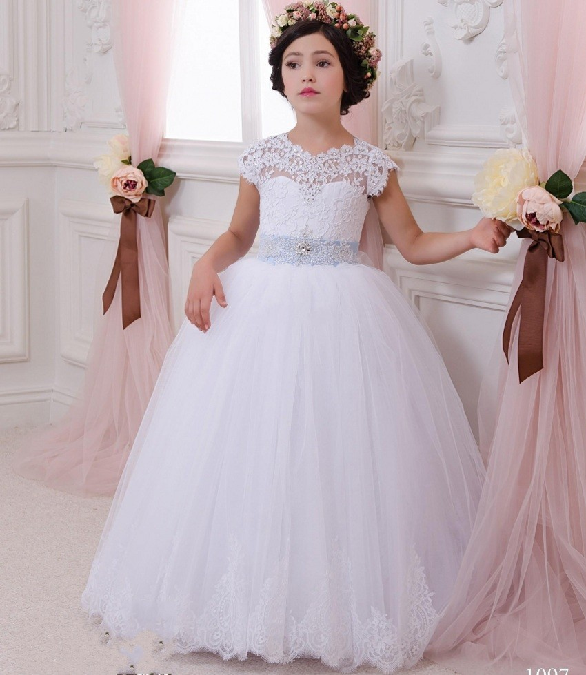 Custom made white ball gown for wedding first communion for Dresses for girls wedding