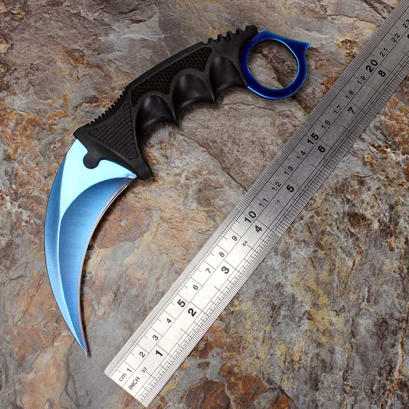 cs go counter strike blue neck knife karambit knife camping hunting survival knife with sheath. Black Bedroom Furniture Sets. Home Design Ideas