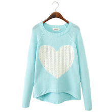 Cheap Pullover Women Sweaters Elegant Heart Pattern Pullover O neck Long Sleeve Knitwear Stylish Casual Knitted Sweater LS812(China (Mainland))
