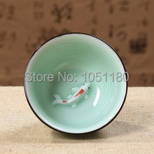 wholesale new high quality 6pcs Celadon teacup Ceramic tea cup porcelain 50ml gold fish with texture Kungfu teacup Free Shipping