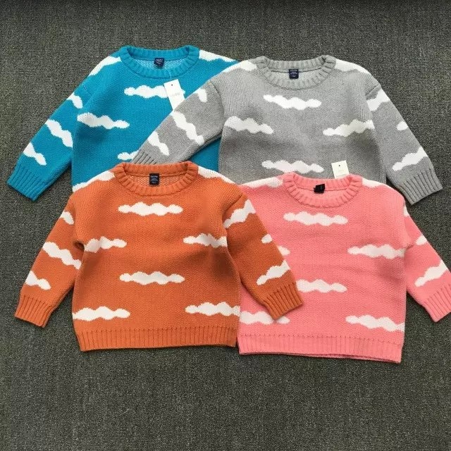2016 spring and autumn children knitted sweater baby sweater cartoon clouds cute girls and boys thick warm sweater(China (Mainland))