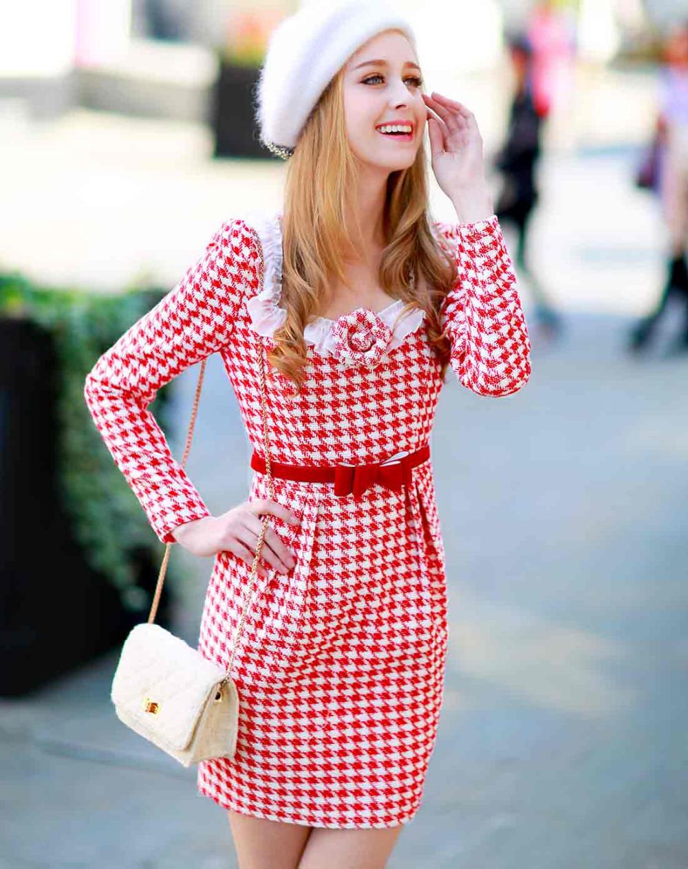 Original Fashion 2016 Brand Autumn and Winter Robe Woolen Dress Red Plaid Plus Size Slim Elegant Women Dresses Vestido Wholesale