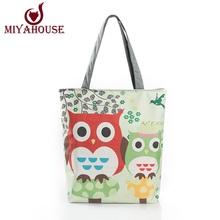 Fashion Female Canvas Beach Bag Cartoon Owl Printed Casual Tote Women Canvas Handbag Daily Use Single Shoulder Shopping Bags(China (Mainland))