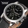 JARAGAR Men Luxury Tourbillion Automatic Mechanical Watch Big Number Leather WristWatch Gift Box Relogio Releges 2016