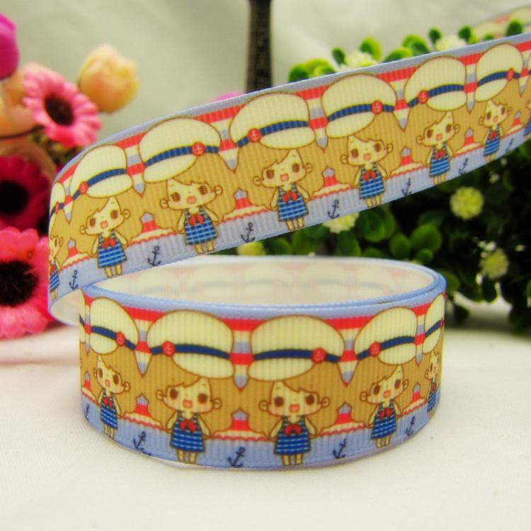 "22mm 7/8"" Character Gril Printed Grosgrain Ribbon DIY Tape Sewing Supplier 10Yards KD-099(China (Mainland))"