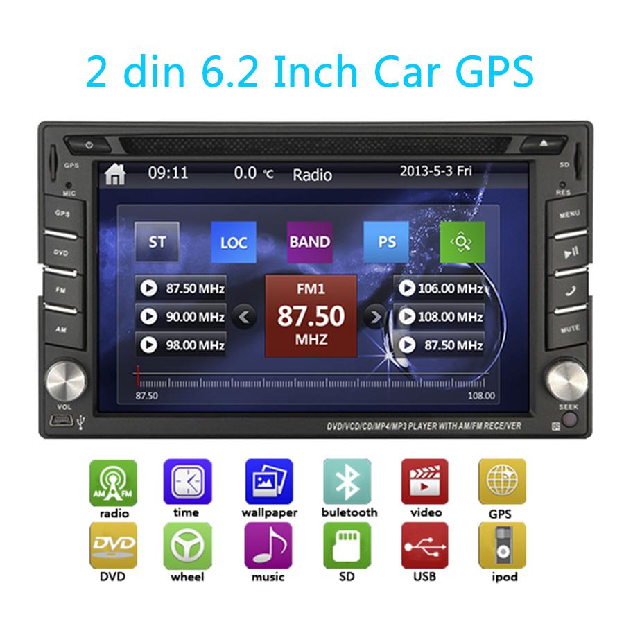 Double din Car Stereo Headunit In Dash 6.2 inch HD Screen GPS Navigation Bluetooth Steering Wheel Control Car DVD Player Radio(China (Mainland))