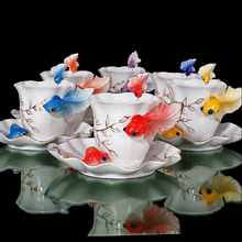 Festival Gift painting creative cup Bone China 3D Color Emamel Porcelain animal Goldren fish mug saucer