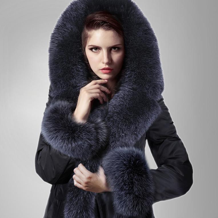 2013 Luxury 100%Fox Fur Collar Lined Fashion Coats Women Elegant Winter Outwear 4xl 5xl Plus Size F15159 - CherryBerry Mall store
