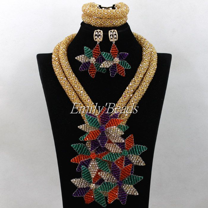 2016 Latest Nigerian Crystal Beads Necklaces Wedding African Beads Jewelry Set African Costume Jewelry Set Gold Plated AIJ789(China (Mainland))