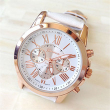 Best seller Free Shipping New Women's Fashion Geneva Roman Numerals Faux Leather Analog Quartz Wrist Watch May10