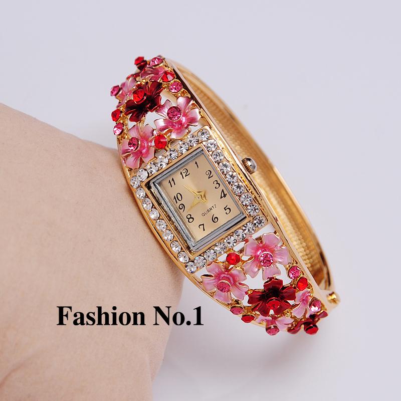 Wristwatches 5 Colors Women Dress Watches Flower 18k Gold Plated Rhinestone Quartz Bracelet Bangle W
