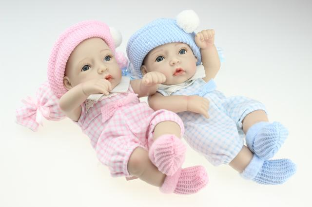 1pc Silicone Cute Baby waterproof Boy Gir Lovely Reborn Baby  Doll Gift for Children Toy Smile Baby Blue Pink Hat No Hair<br>