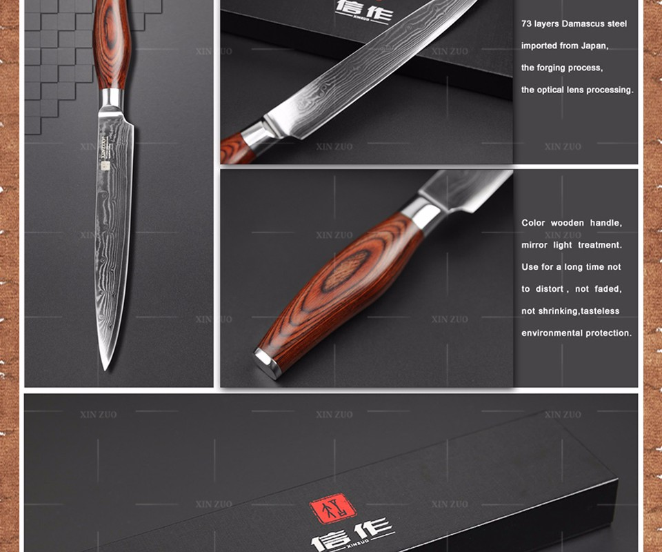 Buy xinzuo Japanese VG10 Damascus steel kitchen knife 8 inch cleaver knives slicing/Carving knife with wood handle FREE SHIPPING cheap