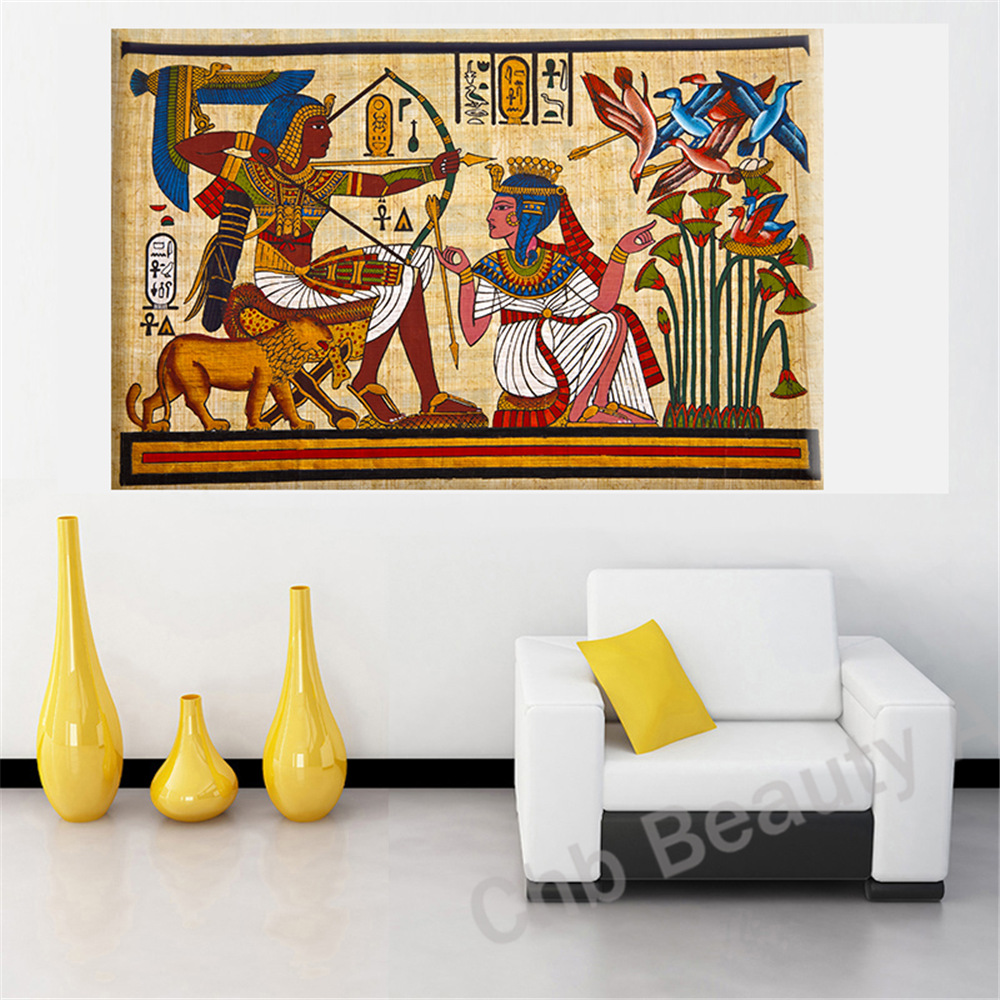 Pharaoh egyptian decor canvas painting wall pictures for for Home decorators wall art