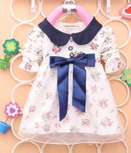 2014 Autumn Newest Baby Girls Cotton Dress Big Bowknot  Infants Flower Dresses girls T-shirt dress(China (Mainland))