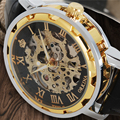 2017 New Men s Skeleton WristWatch Stainless steel Antique Steampunk Luxury Casual Mechanical Hand Wind Watches