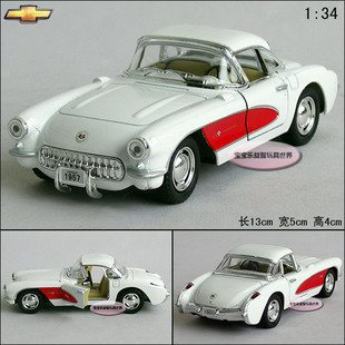 New 1:34 Chevrolet CORVETTE 1957 Alloy Diecast Model Car Toy Collection White B397(China (Mainland))