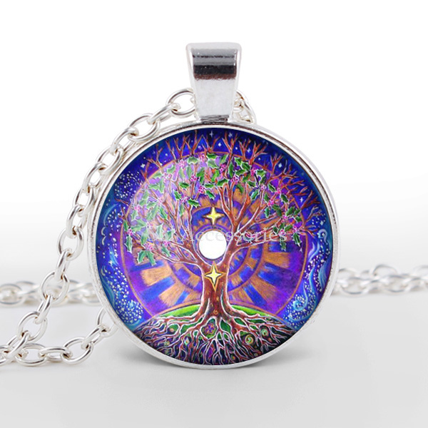 10pcs/lot The tree of life Glass Cabochon Necklace jewelry Handmade Silver Plated Chain Necklaces newest(China (Mainland))