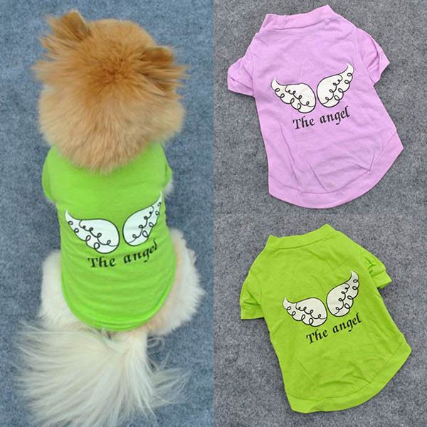 Cute Pet Puppy Dog Clothes Angel Wing Pattern T-shirt Shirt Coat Tops Clothings(China (Mainland))