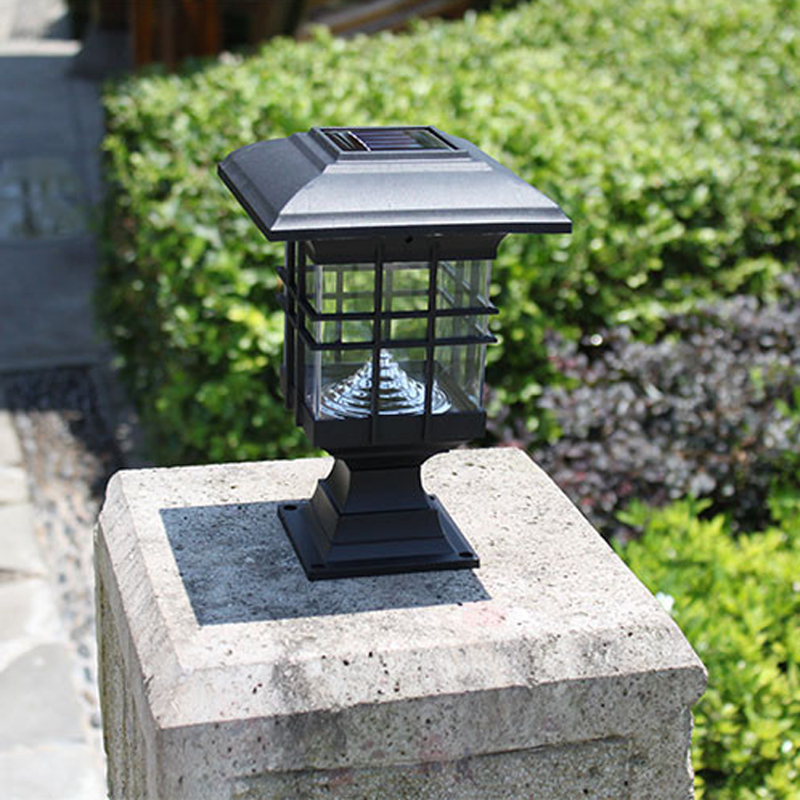 New retro waterproof led solar panel lamps pillar wall for Decorative patio lights