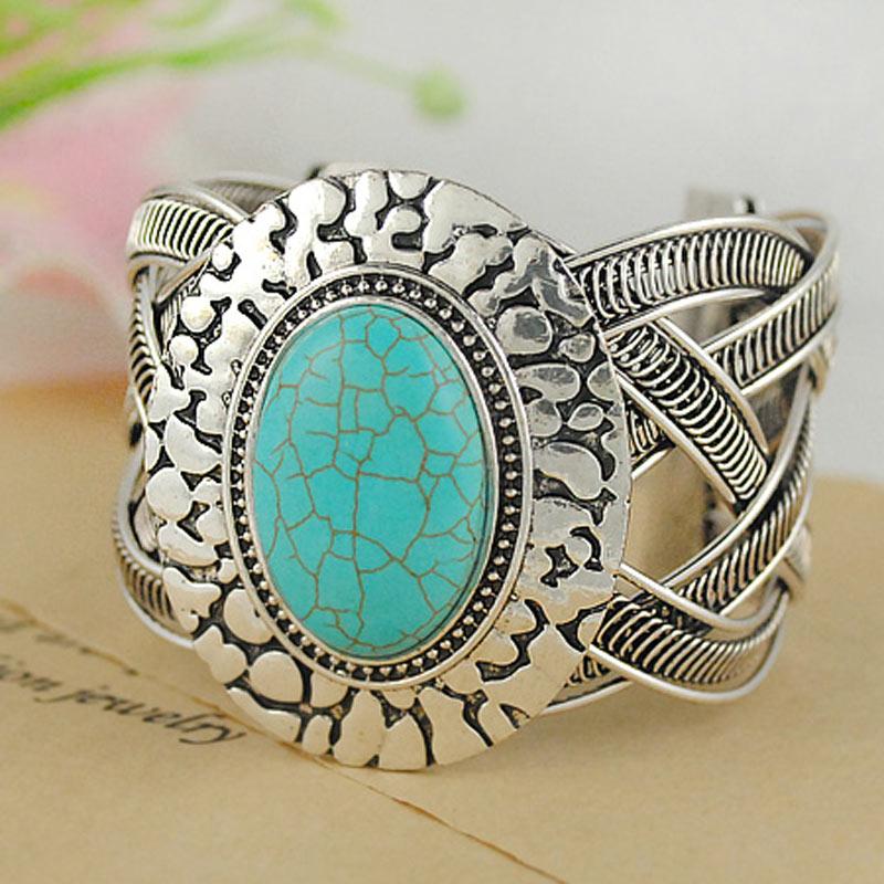Tibetan Sivler Turquoise Bracelets Fashion Jewelry Women - Yumfeel (Mix Minimum Order USD10 store)