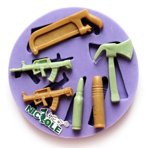 New hammer bamboo gun bullet silicone fondant cake mold ...