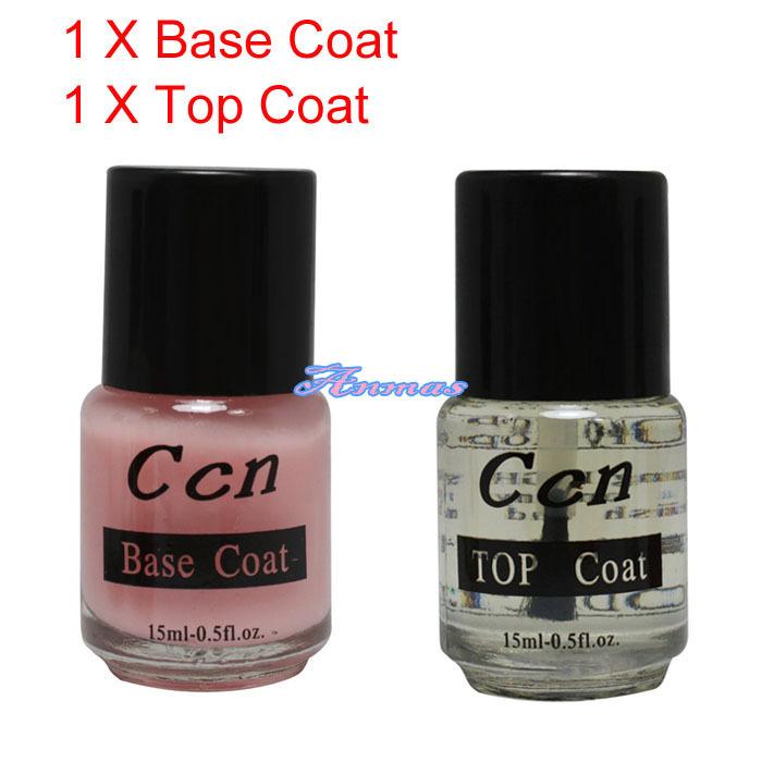 New 2 pcs base coat top coat acrylic nail art false tip - Base coat nail salon ...