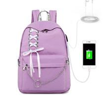 2019 USB Cobrando Mulheres Anti Roubo Mochila Rosa Mochila de Viagem Laptop Sacos Para Adolescentes Meninas Bonitos Anello Preto Laço de Fita plecak(China)