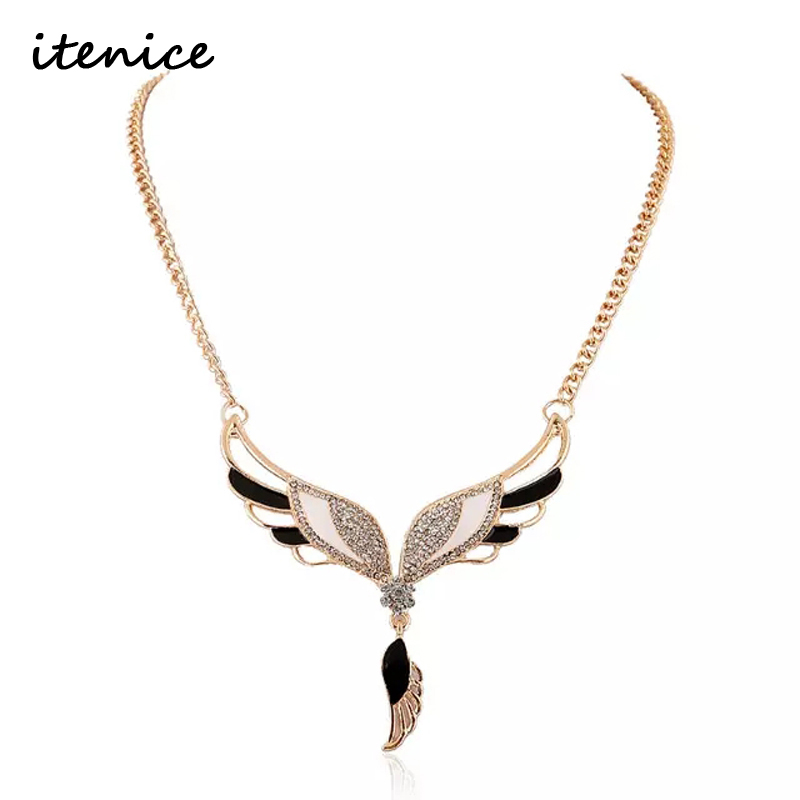 2016 New Famous Design Angel Wing Necklace Pendant for Women Fashion Crystal 18K Gold Plated Party Jewelry Wedding Necklace(China (Mainland))