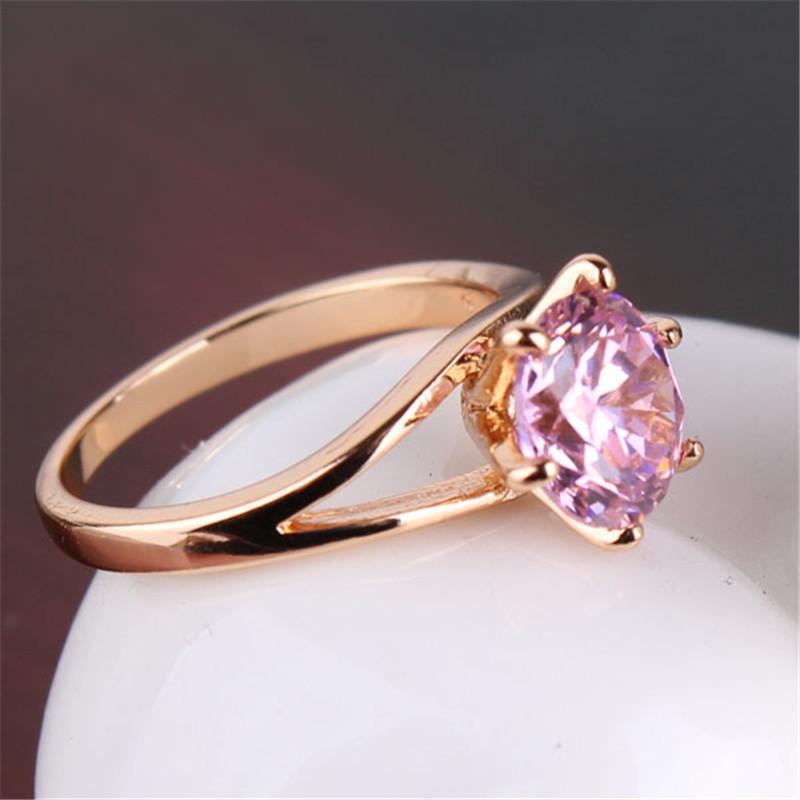 Мода бренд обручальные кольца новый 18 К позолоченные миди кольца розовый кристалл цирконий ленточные обручальные кольца для женщин R024
