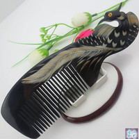 Natural Horn Comb Carved Phoenix Peacock Elegant Hair Care Accessories Free Shipping 010
