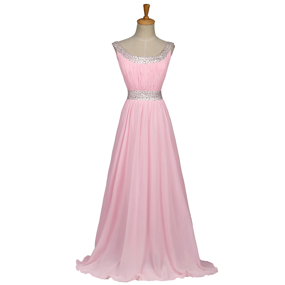2016 new chiffon long pink bridesmaid dress in stock for Dresses for wedding bridesmaid