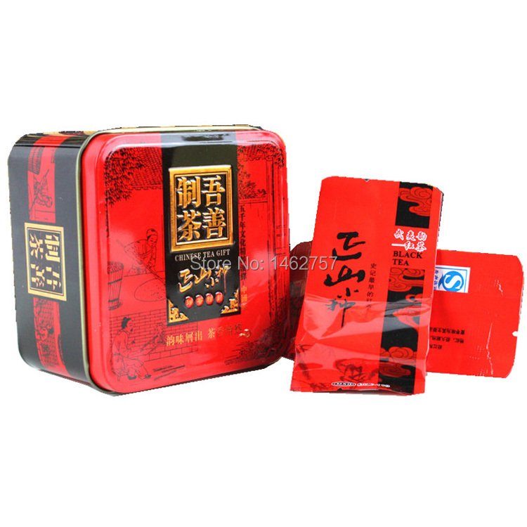 Promotion Chinese Coffee black tea Lapsang Souchong tea 50gTin box gift package red tea green food