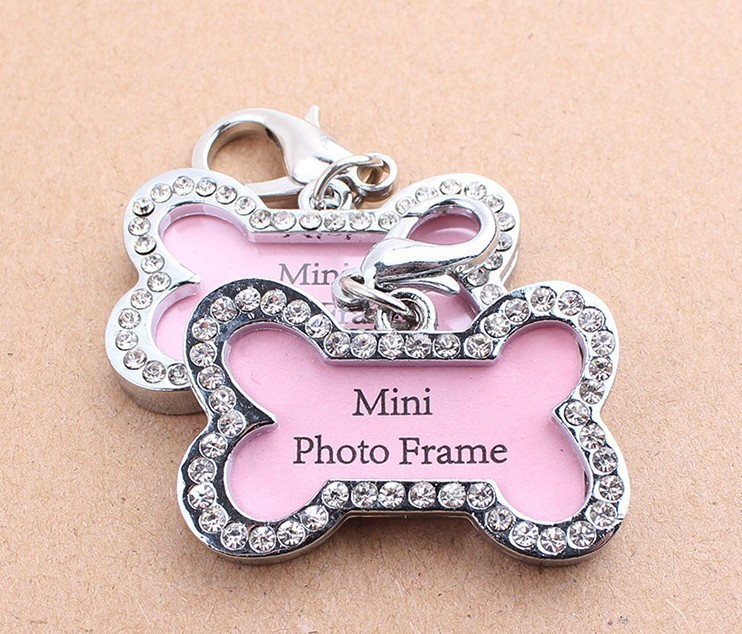 10pcs Pet Collar Charm Dog ID Tag Dog Name Tag Rhinestone Accessories Bone Shaped Doggie Boutique Puppy Crystal Photo Frame S(China (Mainland))