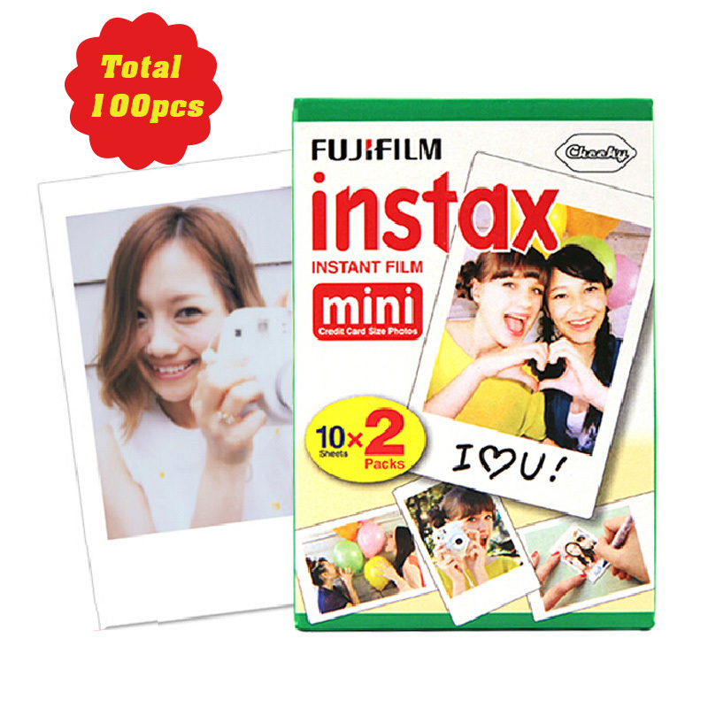 100 sheets Fujifilm Instax Mini film for Instant Camera mini 8 7s 25 50s 90 White Edge 3 inch film Photo Paper(China (Mainland))