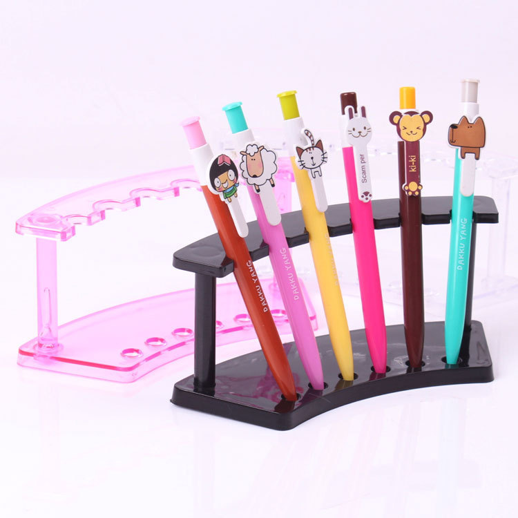 Free Shipping 10pcs/lot clear plastic pen display stand holder rock Organizer for 6pcs pen lipstick display pen box case(China (Mainland))