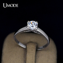 UMODE Wholesale Plating Classic Uplifted 4 Prong Single Zirconia Anillos Mujer Wedding Ring for Women JR0137(China (Mainland))