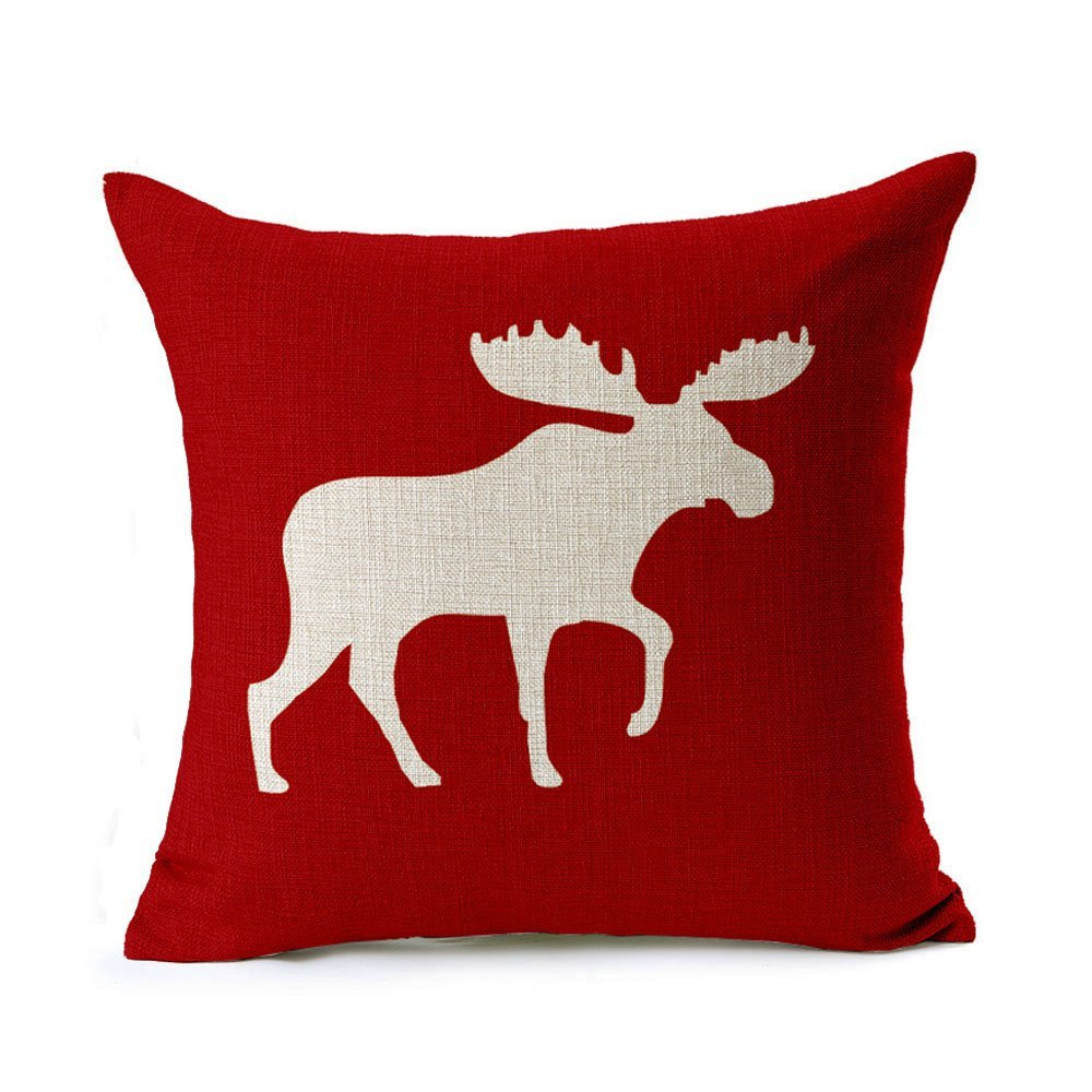 Cotton Linen Decorative Throw Pillow Cover Cushion Case, Holiday Moose 18x18 Inch-in Cushion ...